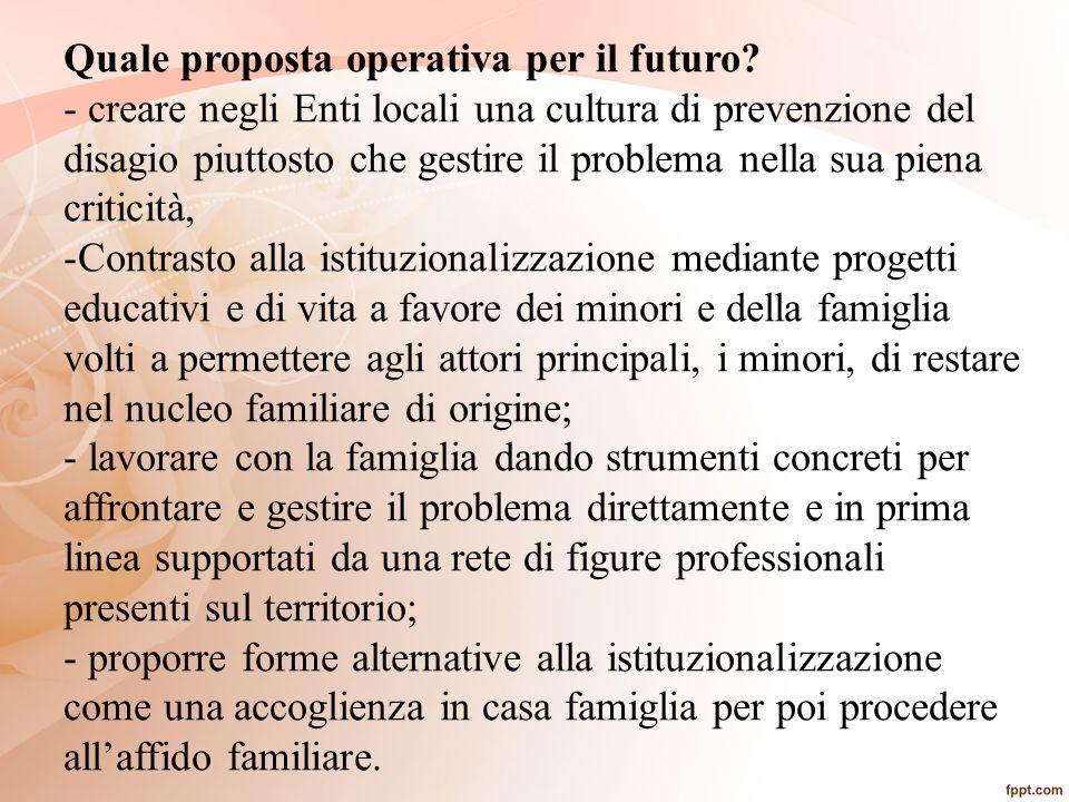 Quale proposta operativa per il futuro? - creare negli Enti locali una cultura di prevenzione del disagio piuttosto che gestire il problema nella sua