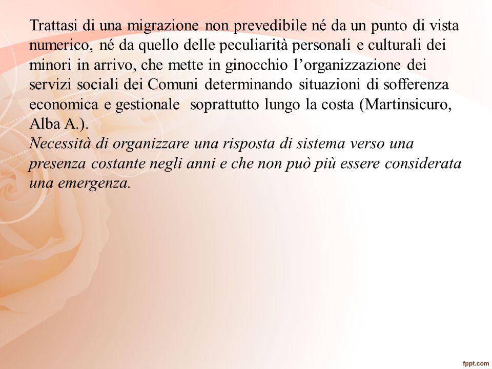 Trattasi di una migrazione non prevedibile né da un punto di vista numerico, né da quello delle peculiarità personali e culturali dei minori in arrivo