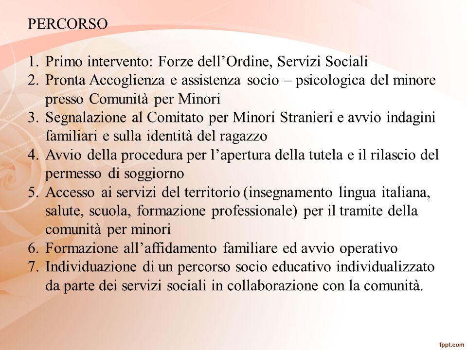 PERCORSO 1.Primo intervento: Forze dell'Ordine, Servizi Sociali 2.Pronta Accoglienza e assistenza socio – psicologica del minore presso Comunità per M