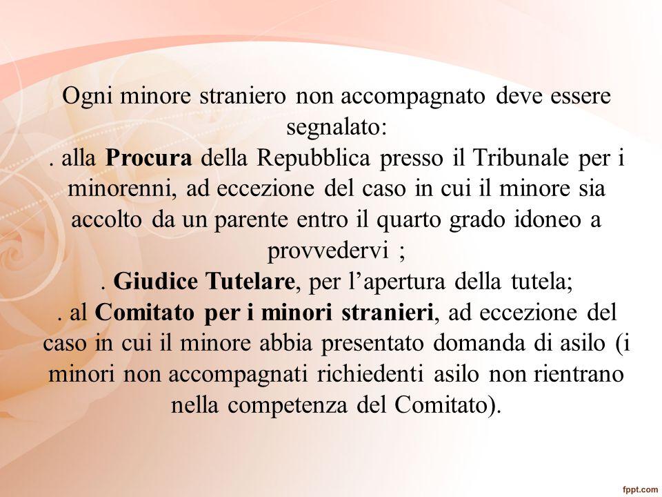 Ogni minore straniero non accompagnato deve essere segnalato:. alla Procura della Repubblica presso il Tribunale per i minorenni, ad eccezione del cas