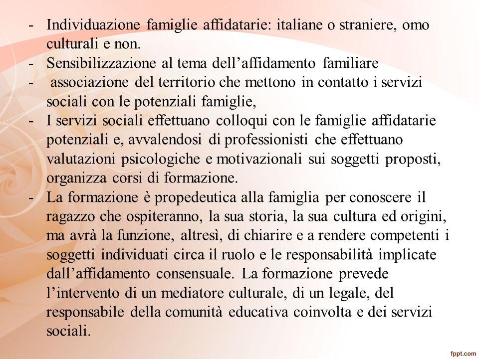 -Individuazione famiglie affidatarie: italiane o straniere, omo culturali e non. -Sensibilizzazione al tema dell'affidamento familiare - associazione