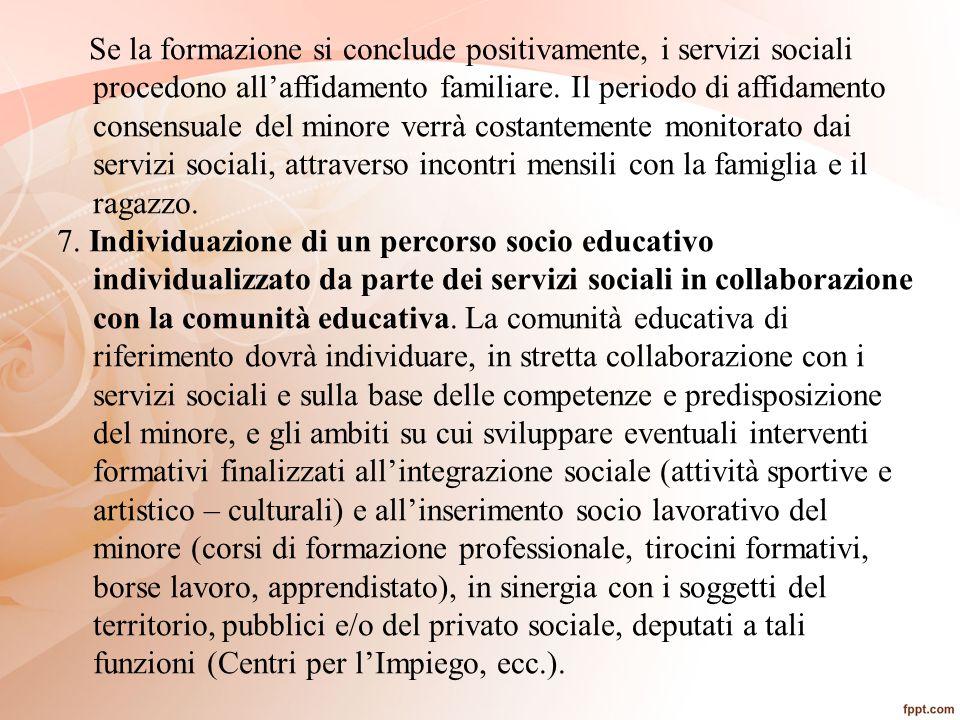 Se la formazione si conclude positivamente, i servizi sociali procedono all'affidamento familiare. Il periodo di affidamento consensuale del minore ve