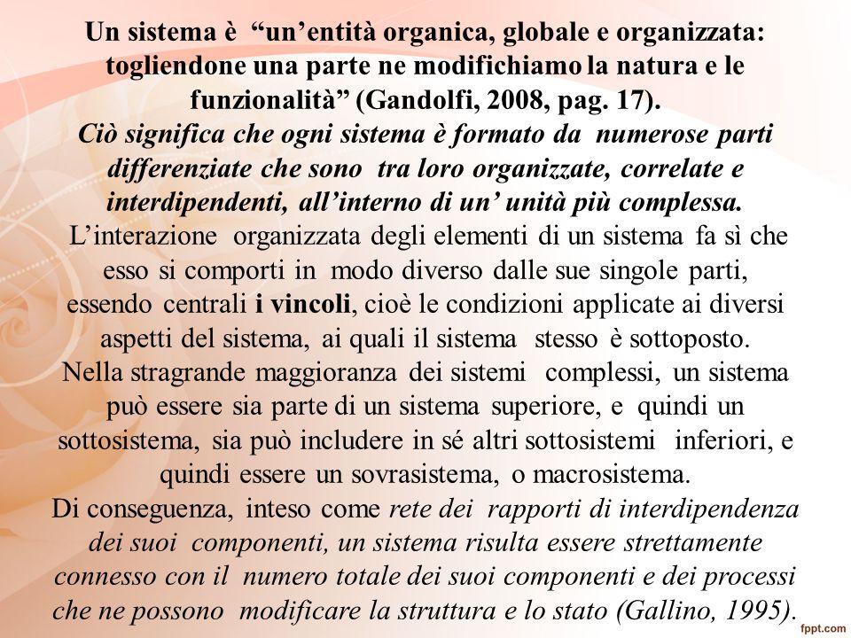 """Un sistema è """"un'entità organica, globale e organizzata: togliendone una parte ne modifichiamo la natura e le funzionalità"""" (Gandolfi, 2008, pag. 17)."""