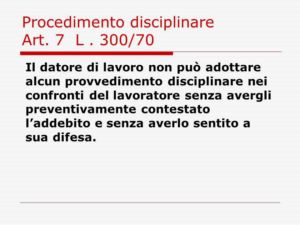 Fasi del procedimento 1)Affissione codice disciplinare Il datore di lavoro ha l'onore di portare a conoscenza dei lavoratori mediante affissione in luogo accessibile a tutti, le norme relative alle sanzioni.