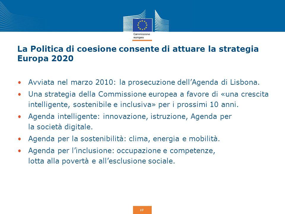 10 La Politica di coesione consente di attuare la strategia Europa 2020 Avviata nel marzo 2010: la prosecuzione dell'Agenda di Lisbona. Una strategia