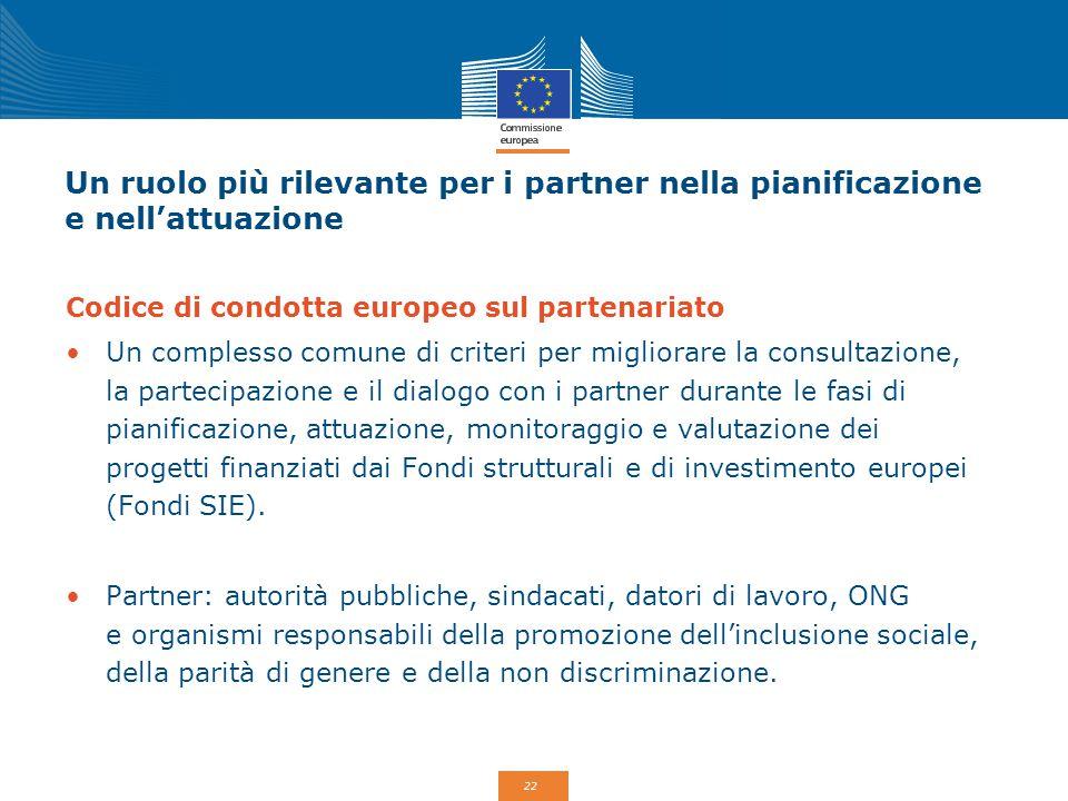 22 Un ruolo più rilevante per i partner nella pianificazione e nell'attuazione Codice di condotta europeo sul partenariato Un complesso comune di crit