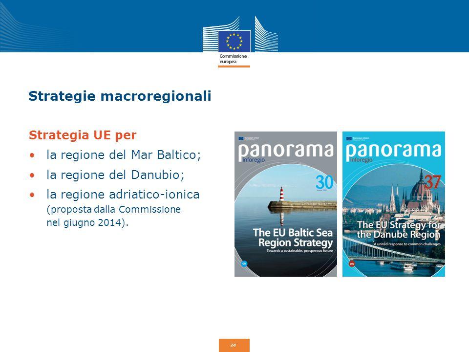 34 Strategie macroregionali Strategia UE per la regione del Mar Baltico; la regione del Danubio; la regione adriatico-ionica (proposta dalla Commissio