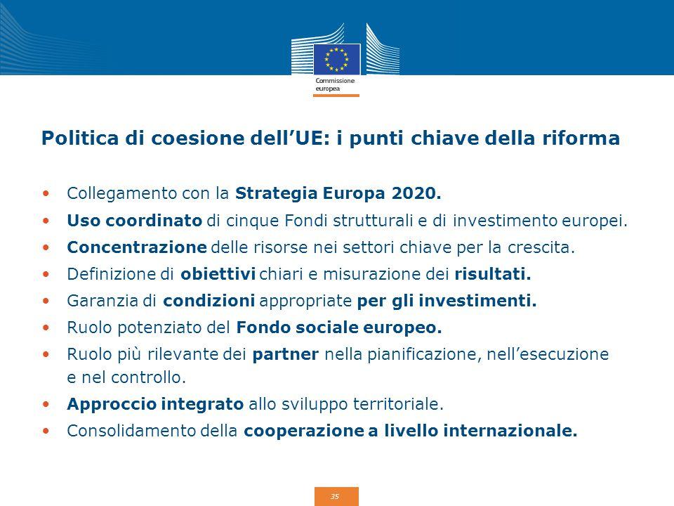 35 Politica di coesione dell'UE: i punti chiave della riforma Collegamento con la Strategia Europa 2020. Uso coordinato di cinque Fondi strutturali e