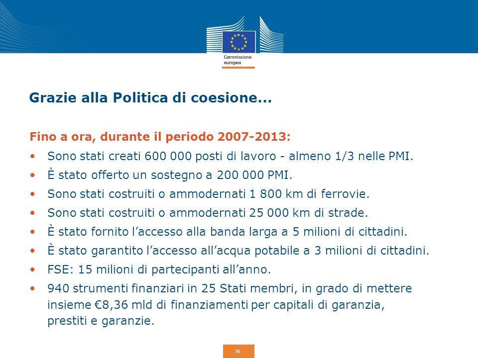 36 Grazie alla Politica di coesione... Fino a ora, durante il periodo 2007-2013: Sono stati creati 600 000 posti di lavoro - almeno 1/3 nelle PMI. È s