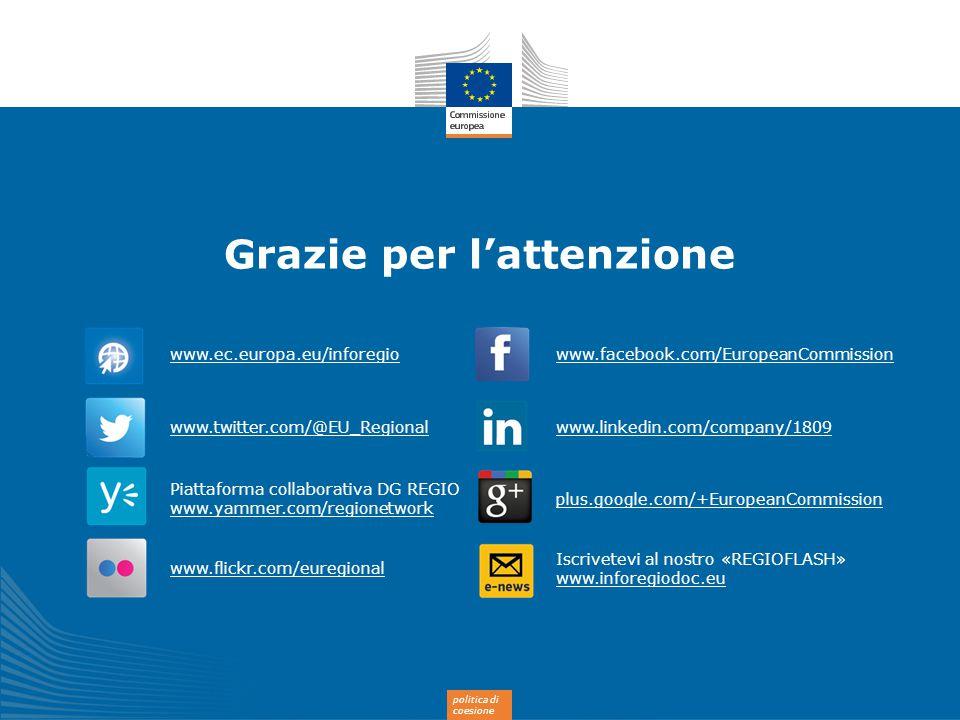 politica di coesione Grazie per l'attenzione www.ec.europa.eu/inforegio www.twitter.com/@EU_Regional Piattaforma collaborativa DG REGIO www.yammer.com
