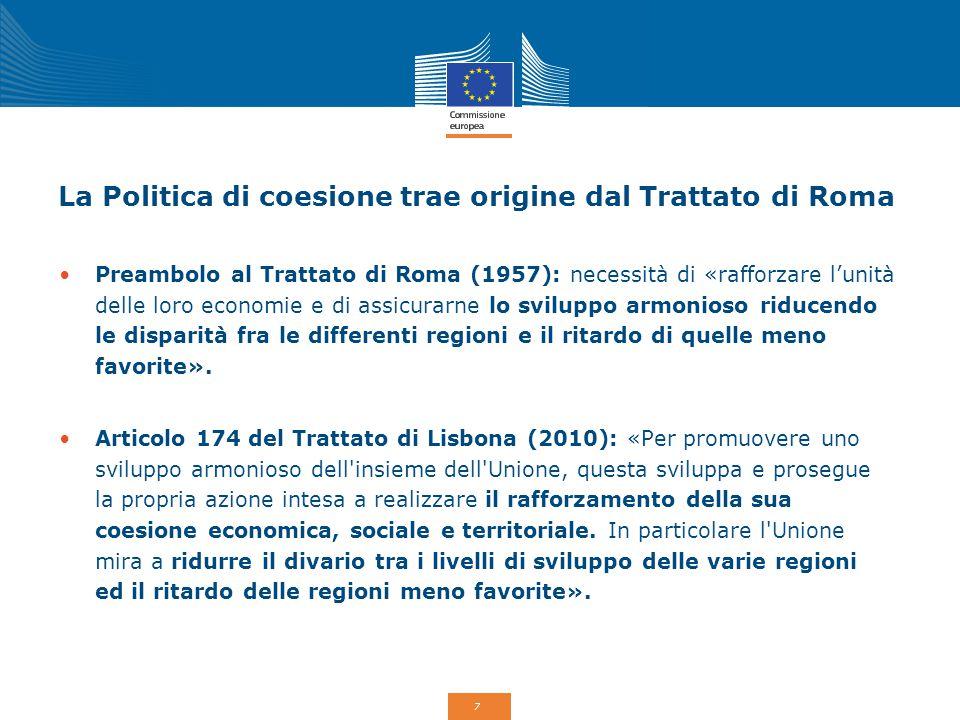 7 La Politica di coesione trae origine dal Trattato di Roma Preambolo al Trattato di Roma (1957): necessità di «rafforzare l'unità delle loro economie