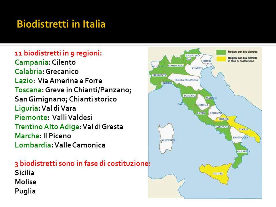 11 biodistretti in 9 regioni: Campania: Cilento Calabria: Grecanico Lazio: Via Amerina e Forre Toscana: Greve in Chianti/Panzano; San Gimignano; Chian