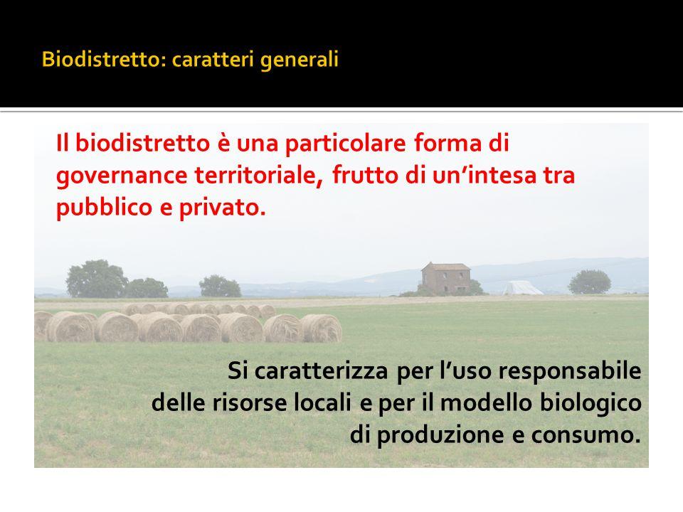 Il biodistretto è una particolare forma di governance territoriale, frutto di un'intesa tra pubblico e privato. Si caratterizza per l'uso responsabile