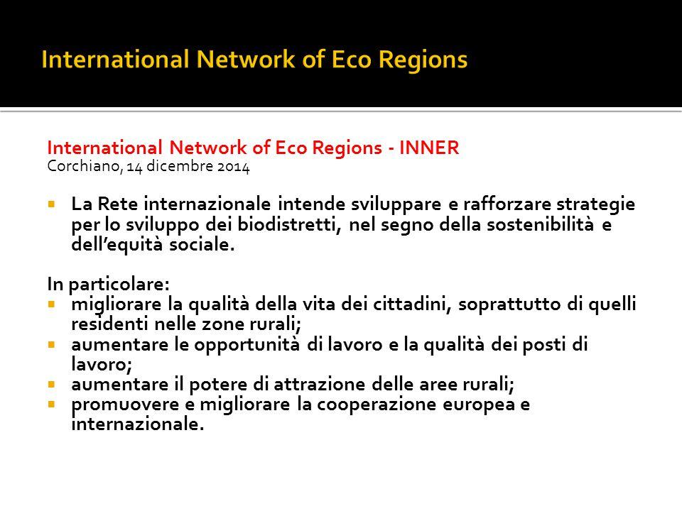 International Network of Eco Regions - INNER Corchiano, 14 dicembre 2014  La Rete internazionale intende sviluppare e rafforzare strategie per lo svi