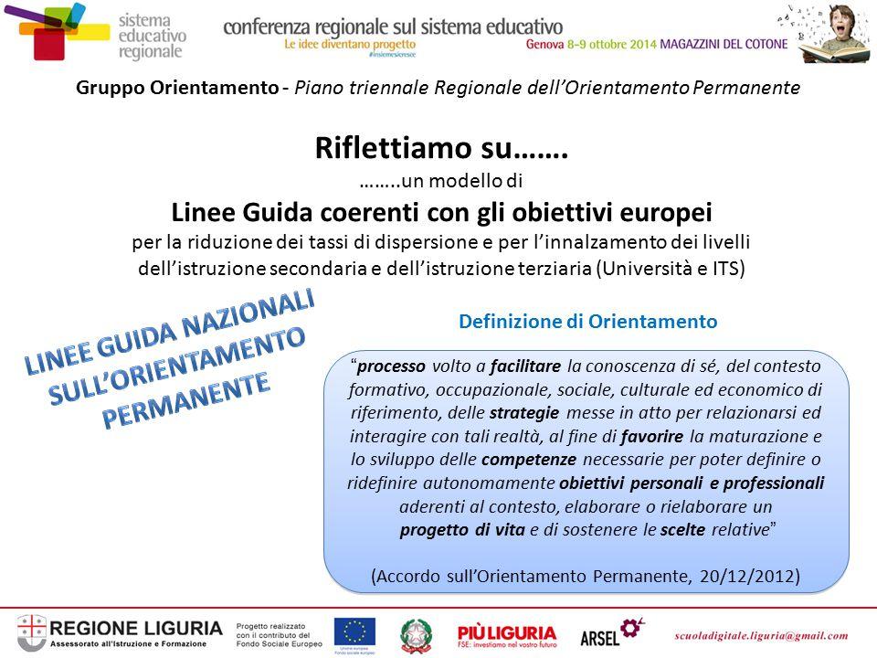Gruppo Orientamento - Piano triennale Regionale dell'Orientamento Permanente Riflettiamo su……. ……..un modello di Linee Guida coerenti con gli obiettiv