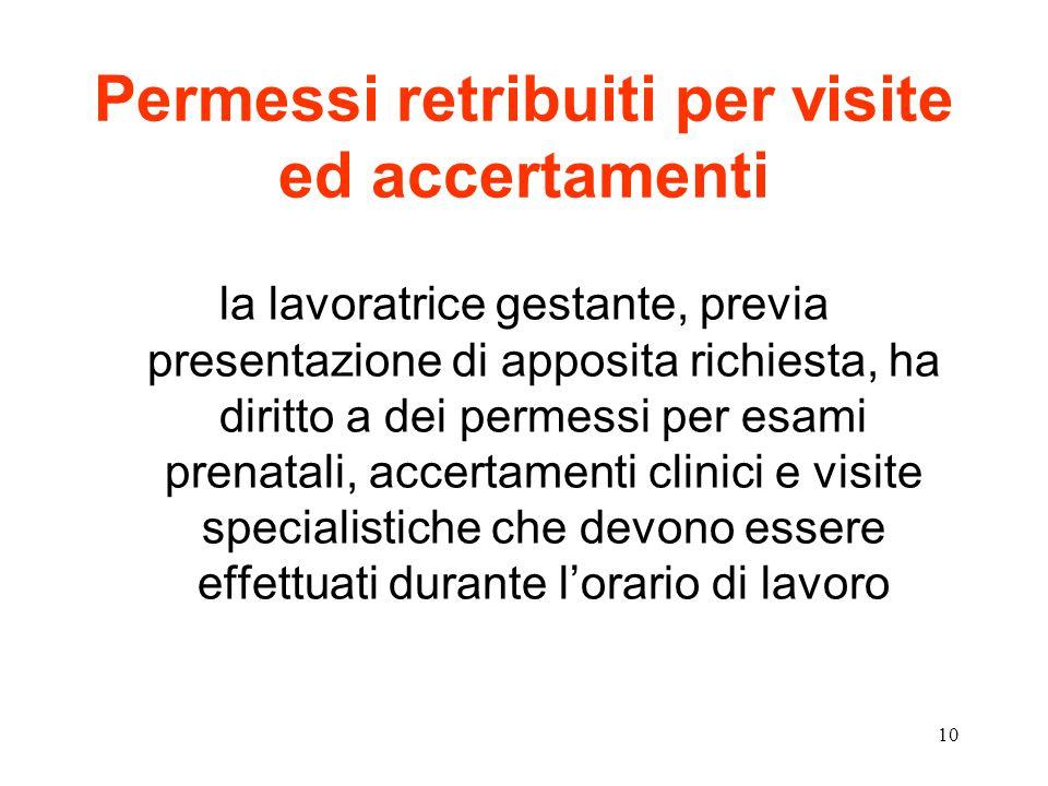 10 Permessi retribuiti per visite ed accertamenti la lavoratrice gestante, previa presentazione di apposita richiesta, ha diritto a dei permessi per esami prenatali, accertamenti clinici e visite specialistiche che devono essere effettuati durante l'orario di lavoro