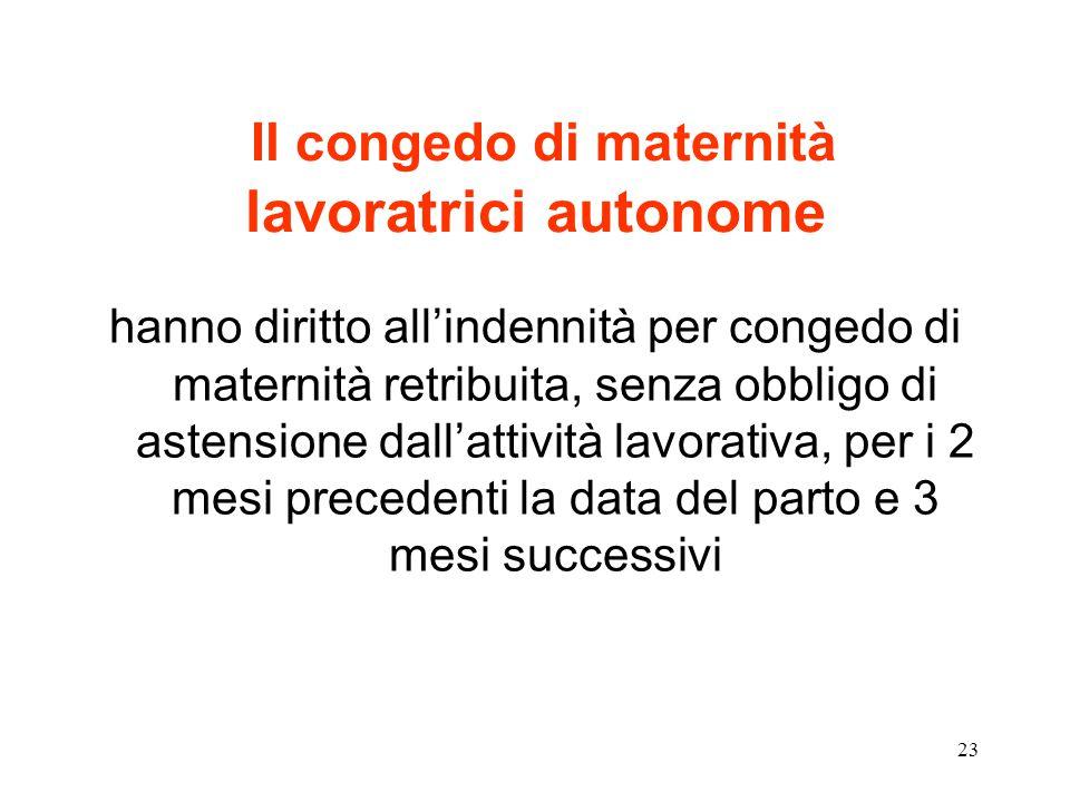 23 Il congedo di maternità lavoratrici autonome hanno diritto all'indennità per congedo di maternità retribuita, senza obbligo di astensione dall'attività lavorativa, per i 2 mesi precedenti la data del parto e 3 mesi successivi