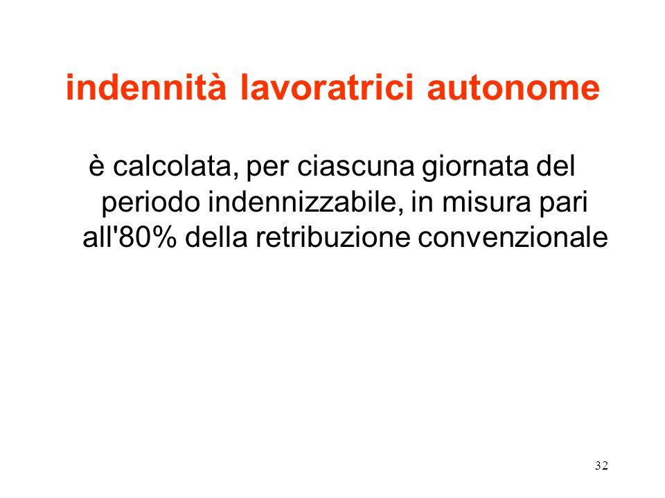 32 indennità lavoratrici autonome è calcolata, per ciascuna giornata del periodo indennizzabile, in misura pari all 80% della retribuzione convenzionale