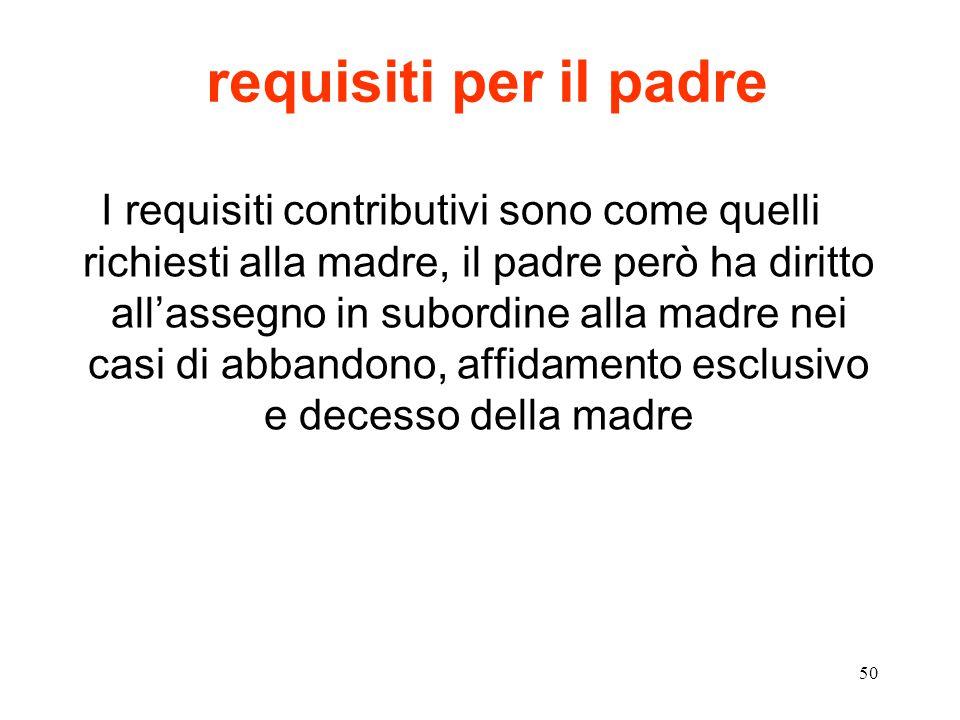 50 requisiti per il padre I requisiti contributivi sono come quelli richiesti alla madre, il padre però ha diritto all'assegno in subordine alla madre nei casi di abbandono, affidamento esclusivo e decesso della madre