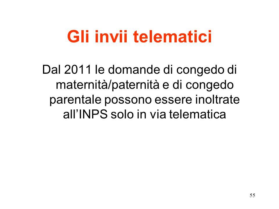 55 Gli invii telematici Dal 2011 le domande di congedo di maternità/paternità e di congedo parentale possono essere inoltrate all'INPS solo in via telematica
