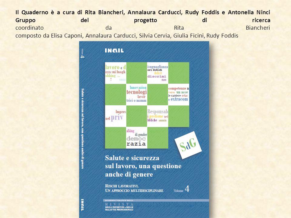 Il Quaderno è a cura di Rita Biancheri, Annalaura Carducci, Rudy Foddis e Antonella Ninci Gruppo del progetto di ricerca coordinato da Rita Biancheri composto da Elisa Caponi, Annalaura Carducci, Silvia Cervia, Giulia Ficini, Rudy Foddis