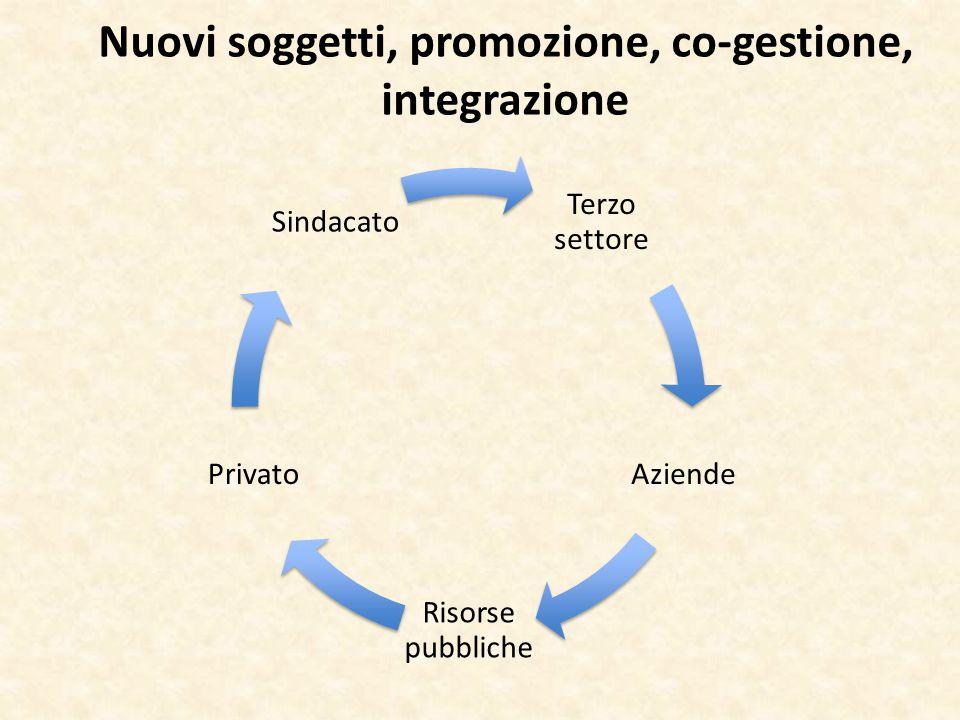 Nuovi soggetti, promozione, co-gestione, integrazione Terzo settore Aziende Risorse pubbliche Privato Sindacato