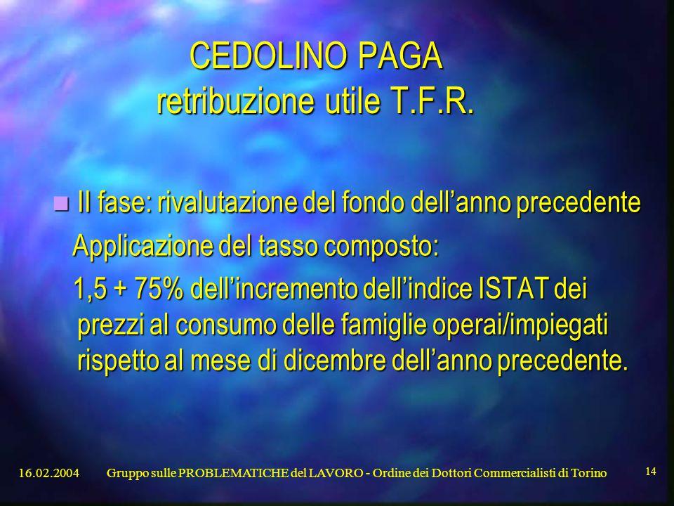 16.02.2004Gruppo sulle PROBLEMATICHE del LAVORO - Ordine dei Dottori Commercialisti di Torino 14 CEDOLINO PAGA retribuzione utile T.F.R.