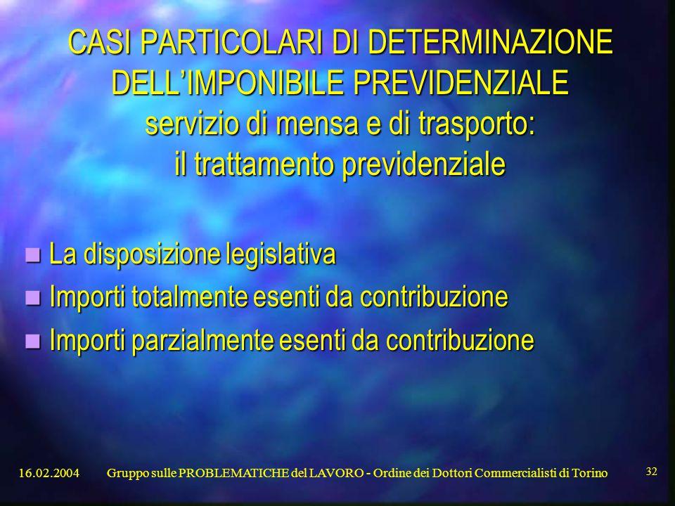16.02.2004Gruppo sulle PROBLEMATICHE del LAVORO - Ordine dei Dottori Commercialisti di Torino 32 CASI PARTICOLARI DI DETERMINAZIONE DELL'IMPONIBILE PREVIDENZIALE servizio di mensa e di trasporto: il trattamento previdenziale La disposizione legislativa La disposizione legislativa Importi totalmente esenti da contribuzione Importi totalmente esenti da contribuzione Importi parzialmente esenti da contribuzione Importi parzialmente esenti da contribuzione