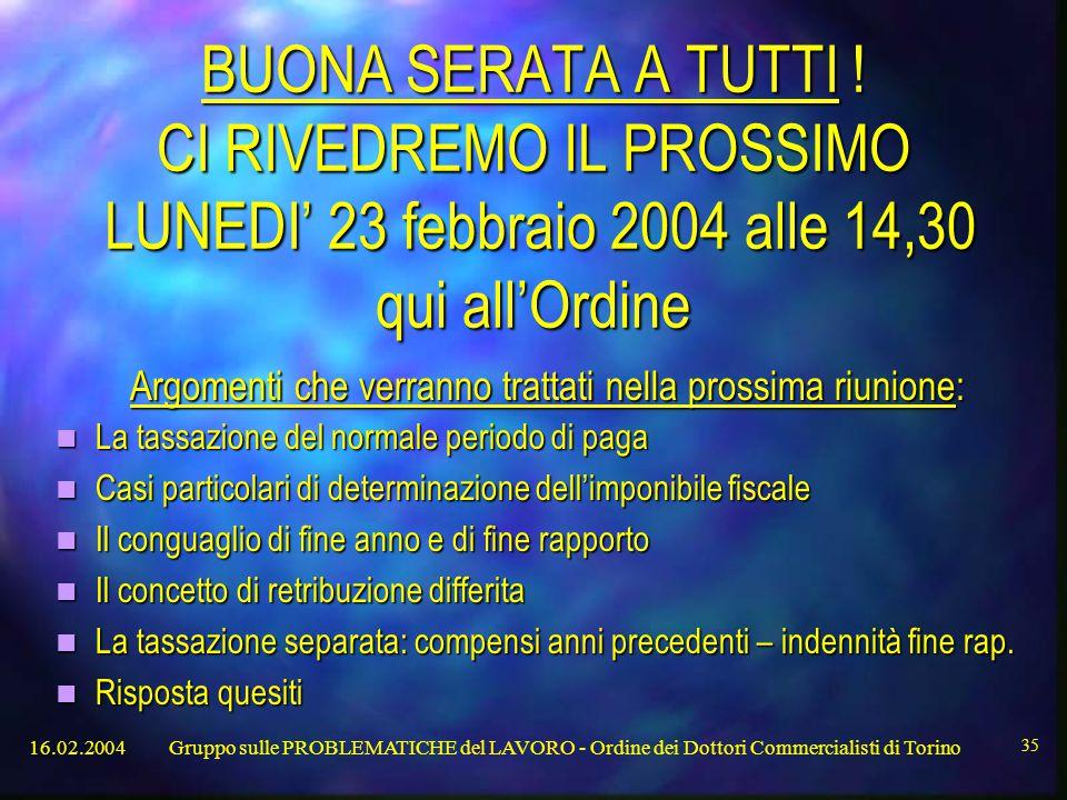 16.02.2004Gruppo sulle PROBLEMATICHE del LAVORO - Ordine dei Dottori Commercialisti di Torino 35 BUONA SERATA A TUTTI .