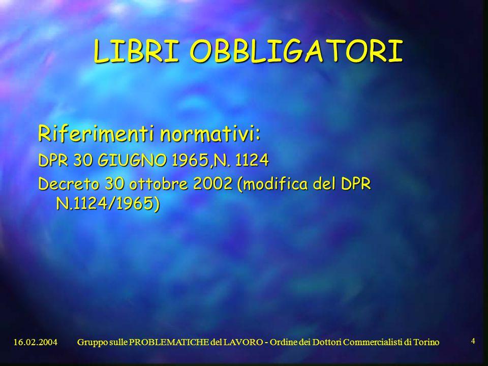 16.02.2004Gruppo sulle PROBLEMATICHE del LAVORO - Ordine dei Dottori Commercialisti di Torino 4 LIBRI OBBLIGATORI Riferimenti normativi: DPR 30 GIUGNO 1965,N.