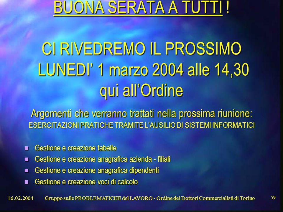 16.02.2004Gruppo sulle PROBLEMATICHE del LAVORO - Ordine dei Dottori Commercialisti di Torino 59 BUONA SERATA A TUTTI .
