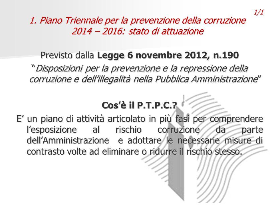 """1. Piano Triennale per la prevenzione della corruzione 2014 – 2016: stato di attuazione Previsto dalla Legge 6 novembre 2012, n.190 """"Disposizioni per"""