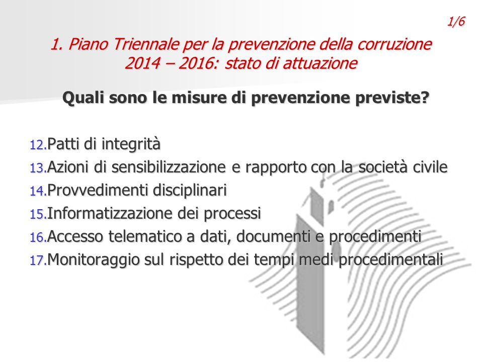1. Piano Triennale per la prevenzione della corruzione 2014 – 2016: stato di attuazione Quali sono le misure di prevenzione previste? 12. Patti di int