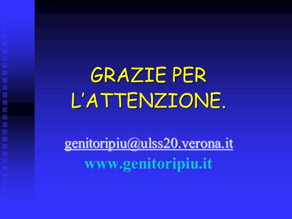 GRAZIE PER L'ATTENZIONE. genitoripiu@ulss20.verona.it www.genitoripiu.it