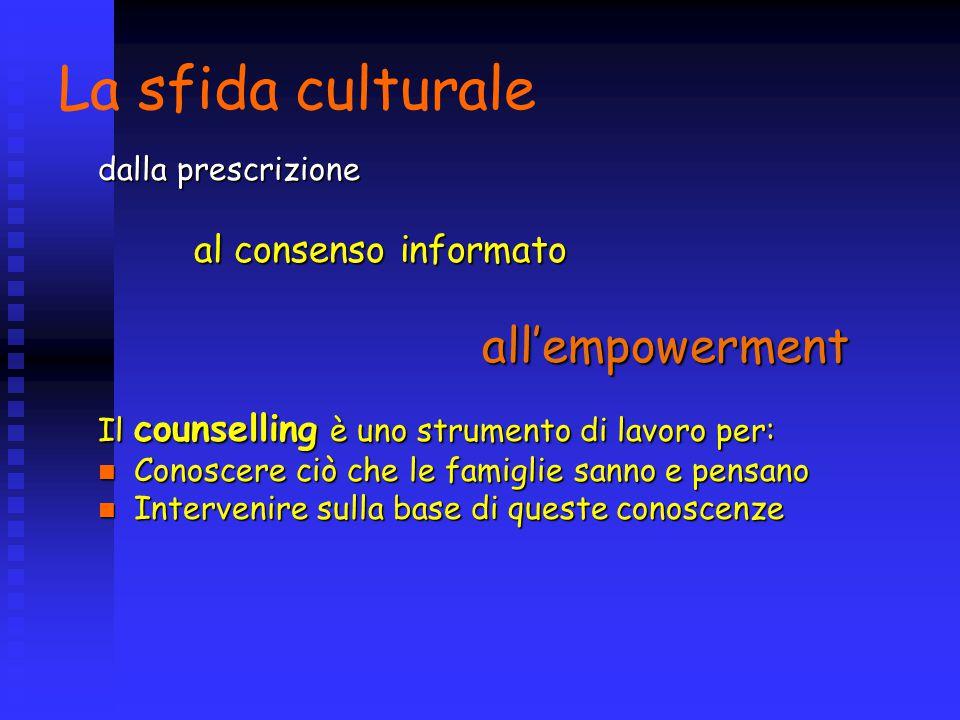 La sfida culturale dalla prescrizione al consenso informato all'empowerment Il counselling è uno strumento di lavoro per: Conoscere ciò che le famiglie sanno e pensano Conoscere ciò che le famiglie sanno e pensano Intervenire sulla base di queste conoscenze Intervenire sulla base di queste conoscenze