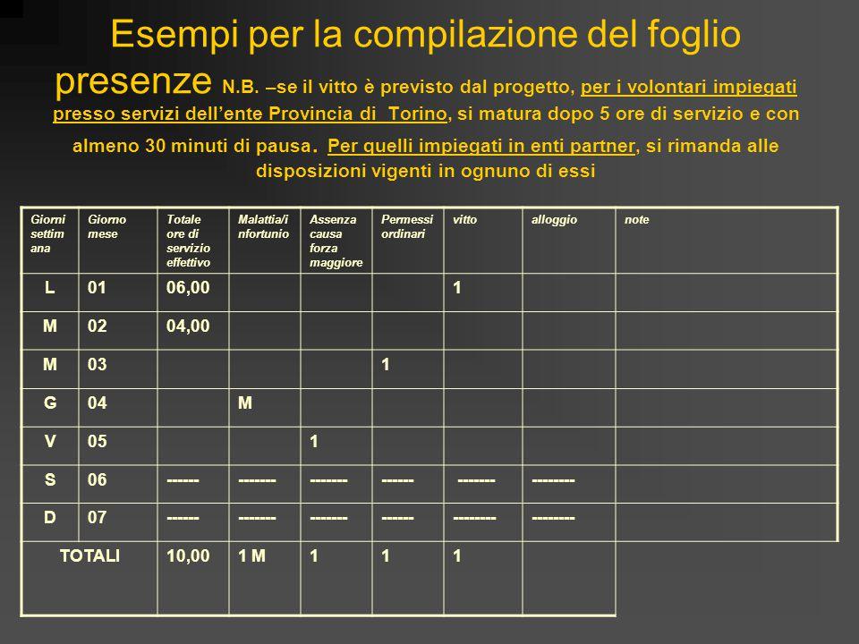 Esempi per la compilazione del foglio presenze N.B. –se il vitto è previsto dal progetto, per i volontari impiegati presso servizi dell'ente Provincia