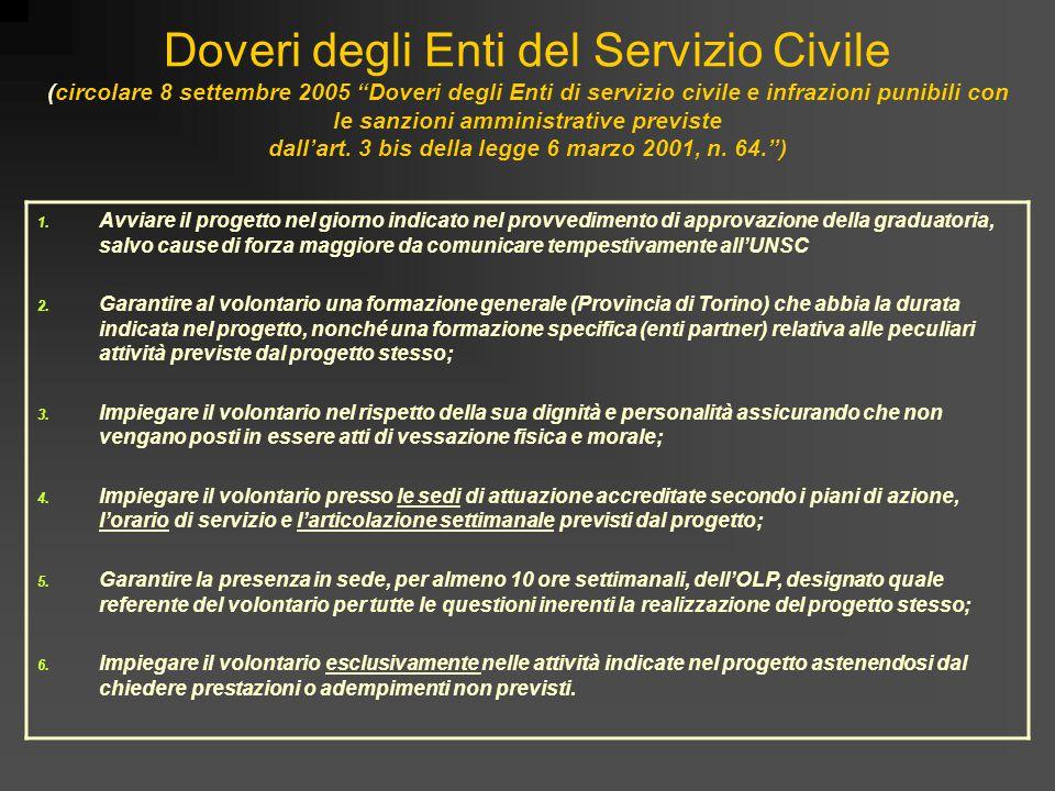 """Doveri degli Enti del Servizio Civile (circolare 8 settembre 2005 """"Doveri degli Enti di servizio civile e infrazioni punibili con le sanzioni amminist"""