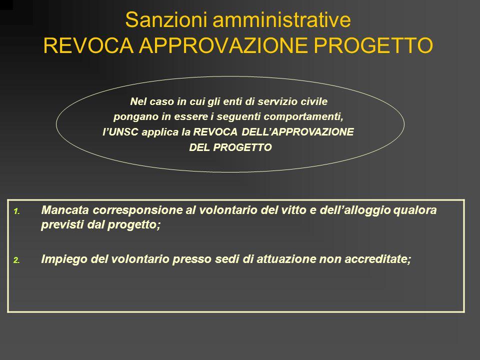 Sanzioni amministrative REVOCA APPROVAZIONE PROGETTO 1. Mancata corresponsione al volontario del vitto e dell'alloggio qualora previsti dal progetto;