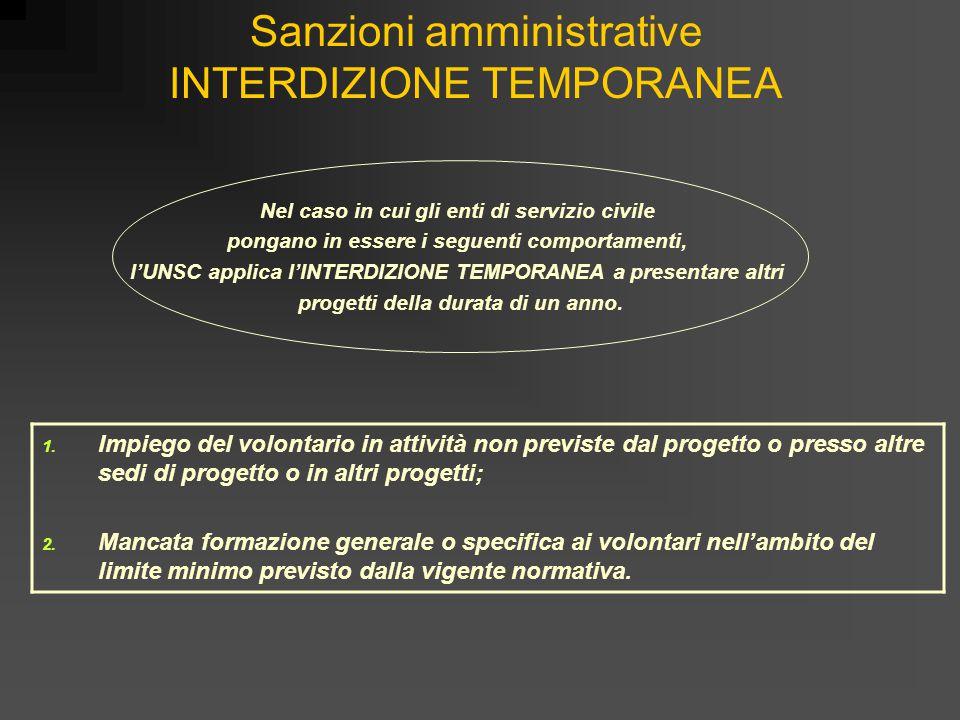 Sanzioni amministrative INTERDIZIONE TEMPORANEA 1. Impiego del volontario in attività non previste dal progetto o presso altre sedi di progetto o in a