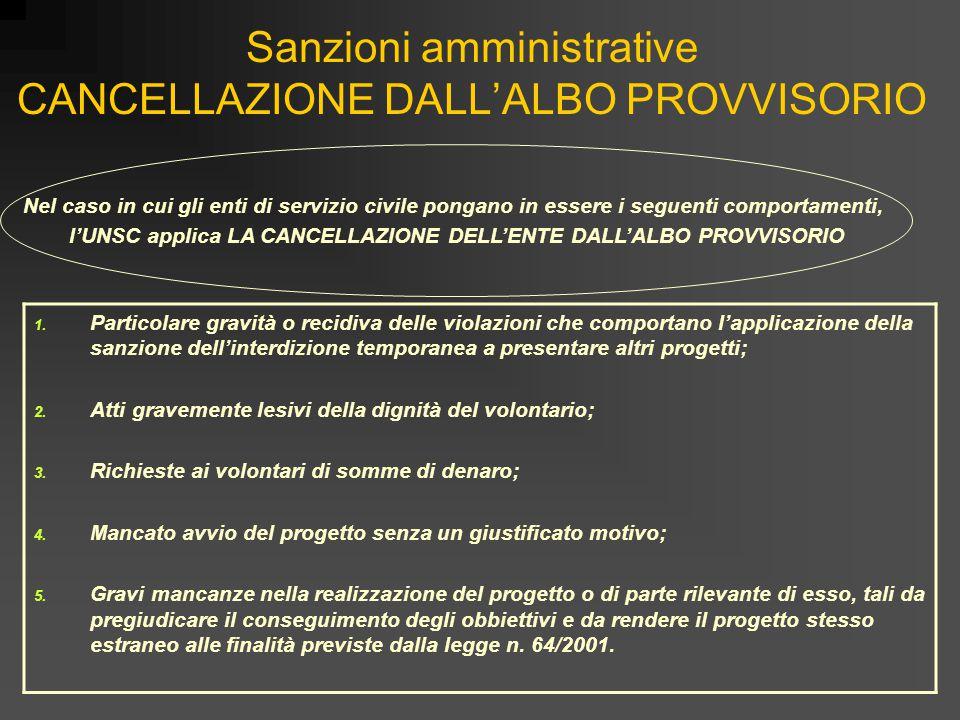 Sanzioni amministrative CANCELLAZIONE DALL'ALBO PROVVISORIO 1. Particolare gravità o recidiva delle violazioni che comportano l'applicazione della san