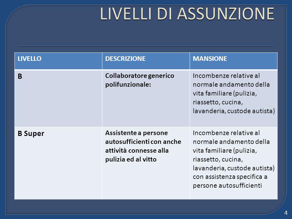 LIVELLODESCRIZIONEMANSIONE B Collaboratore generico polifunzionale: Incombenze relative al normale andamento della vita familiare (pulizia, riassetto,