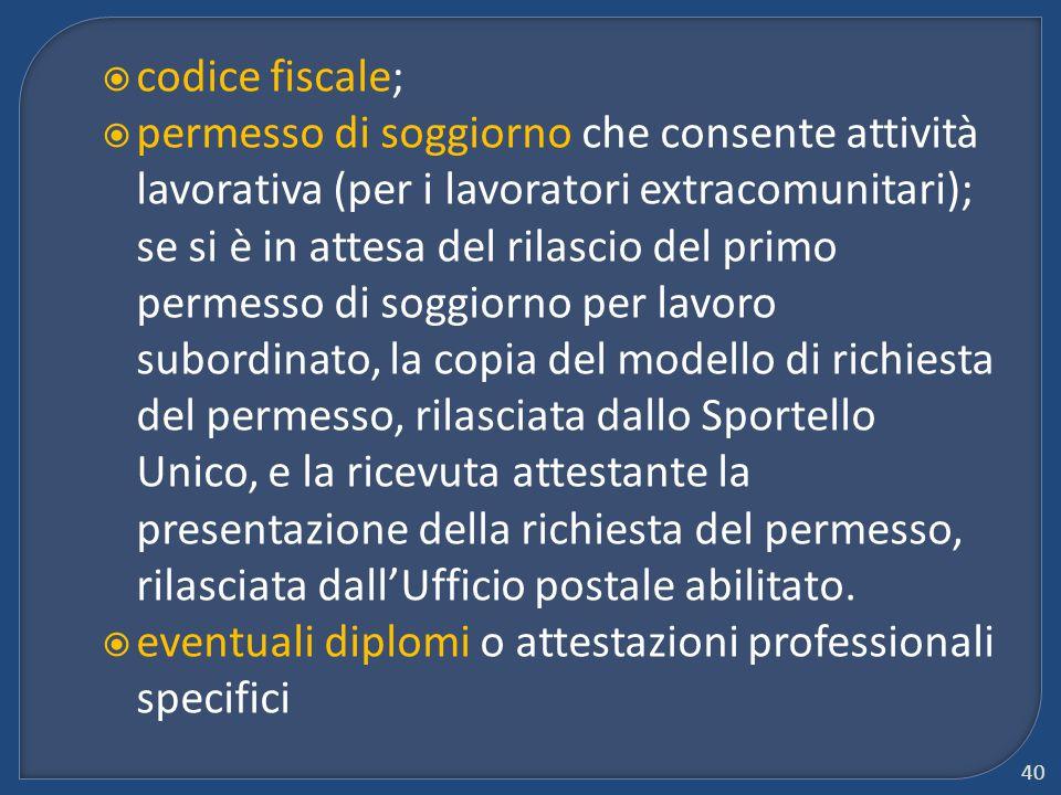  codice fiscale;  permesso di soggiorno che consente attività lavorativa (per i lavoratori extracomunitari); se si è in attesa del rilascio del prim