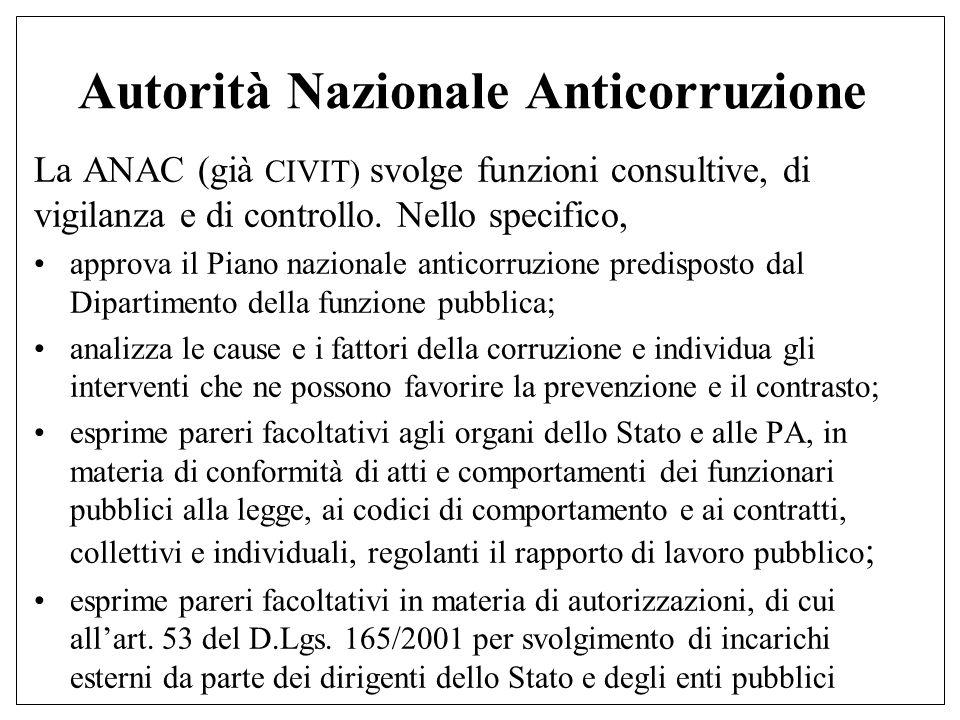 Autorità Nazionale Anticorruzione La ANAC (già CIVIT) svolge funzioni consultive, di vigilanza e di controllo.