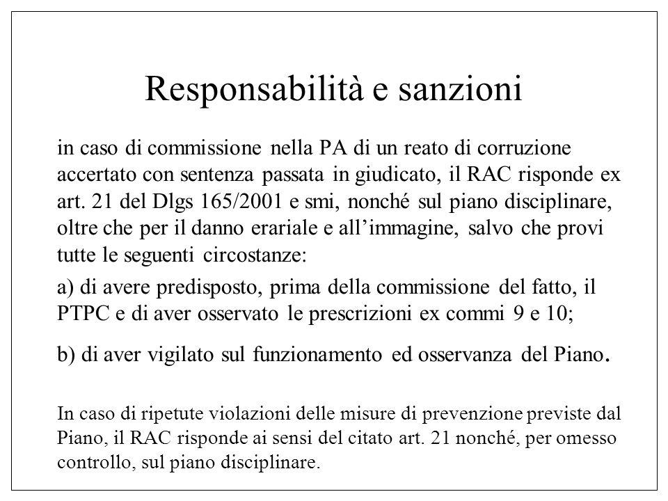 Responsabilità e sanzioni in caso di commissione nella PA di un reato di corruzione accertato con sentenza passata in giudicato, il RAC risponde ex art.