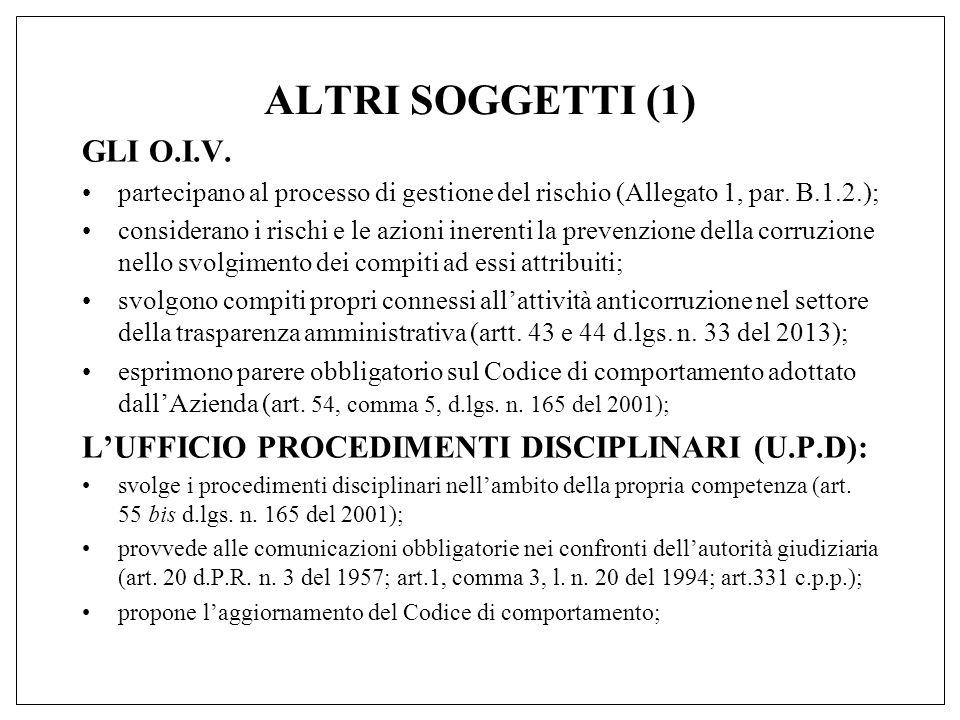 ALTRI SOGGETTI (1) GLI O.I.V. partecipano al processo di gestione del rischio (Allegato 1, par.