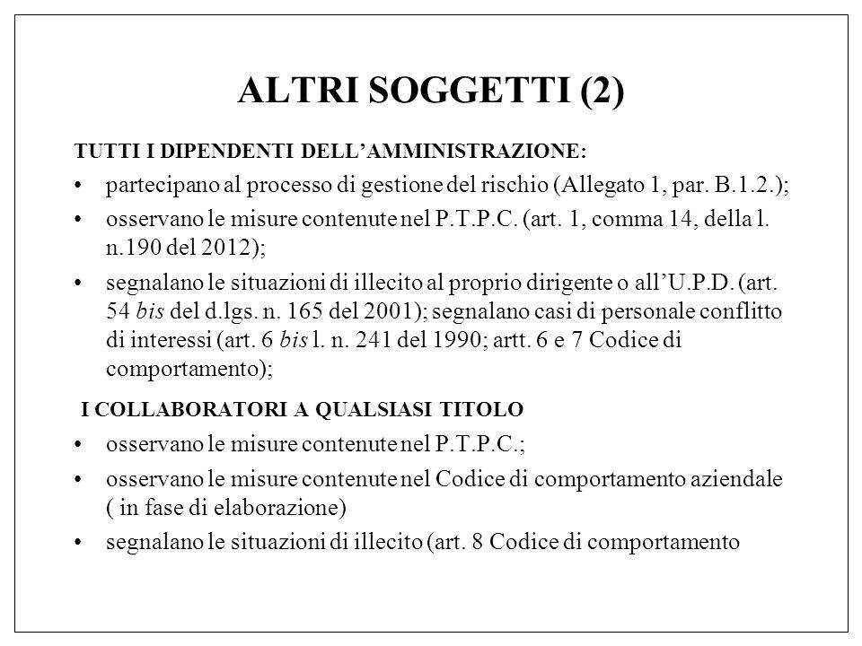 ALTRI SOGGETTI (2) TUTTI I DIPENDENTI DELL'AMMINISTRAZIONE: partecipano al processo di gestione del rischio (Allegato 1, par.