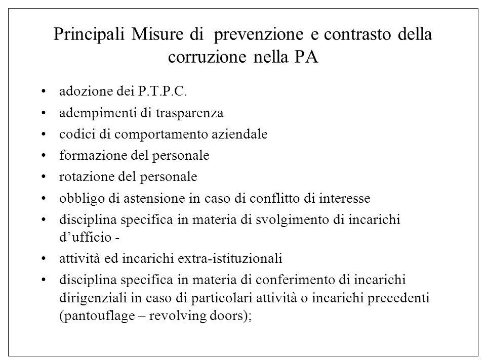 Principali Misure di prevenzione e contrasto della corruzione nella PA adozione dei P.T.P.C.