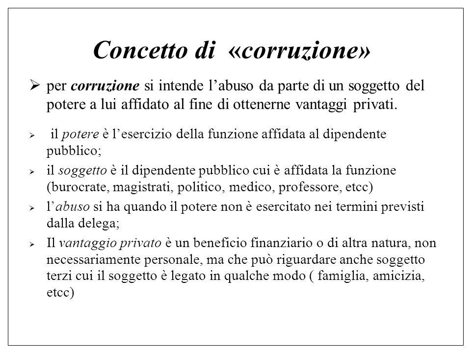 Concetto di «corruzione»  per corruzione si intende l'abuso da parte di un soggetto del potere a lui affidato al fine di ottenerne vantaggi privati.