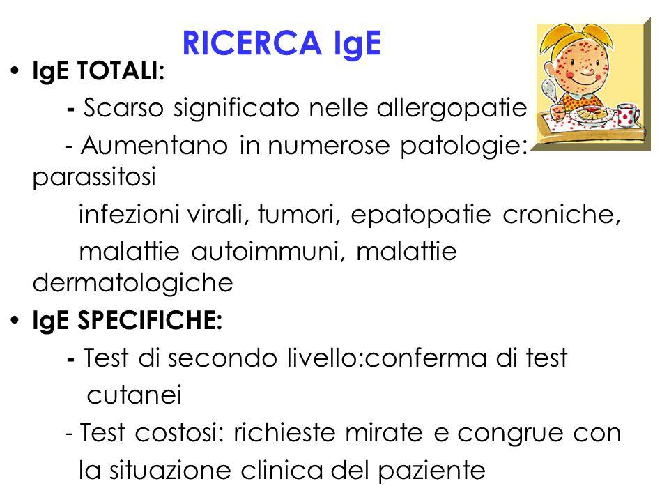 RICERCA IgE IgE TOTALI: - Scarso significato nelle allergopatie - Aumentano in numerose patologie: parassitosi infezioni virali, tumori, epatopatie cr