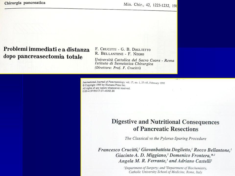 PROBLEMATICHE DOPO RESEZIONE PANCREATICA Insufficienza endocrina Correlata all'estensione della resezione Diabete nel 20-50% delle resezioni pancreatiche Insufficienza esocrina Correlata a:- stato funzionale preoperatorio.